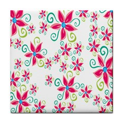Flower Beauty Sexy Rainbow Sunflower Pink Green Blue Tile Coasters