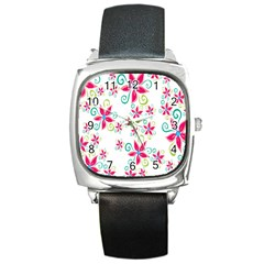 Flower Beauty Sexy Rainbow Sunflower Pink Green Blue Square Metal Watch by Mariart
