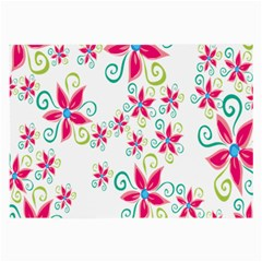 Flower Beauty Sexy Rainbow Sunflower Pink Green Blue Large Glasses Cloth (2 Side) by Mariart