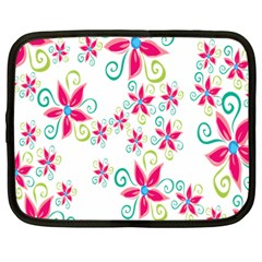 Flower Beauty Sexy Rainbow Sunflower Pink Green Blue Netbook Case (large) by Mariart