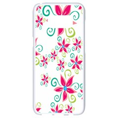 Flower Beauty Sexy Rainbow Sunflower Pink Green Blue Samsung Galaxy S8 White Seamless Case by Mariart