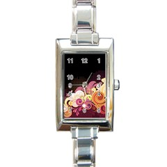 Flower Back Leaf Polka Dots Black Pink Rectangle Italian Charm Watch by Mariart
