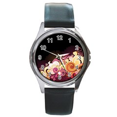 Flower Back Leaf Polka Dots Black Pink Round Metal Watch by Mariart