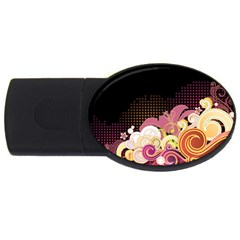 Flower Back Leaf Polka Dots Black Pink Usb Flash Drive Oval (2 Gb) by Mariart