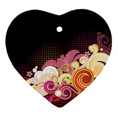 Flower Back Leaf Polka Dots Black Pink Heart Ornament (two Sides) by Mariart