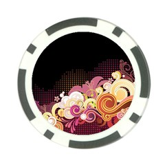 Flower Back Leaf Polka Dots Black Pink Poker Chip Card Guard by Mariart