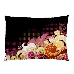 Flower Back Leaf Polka Dots Black Pink Pillow Case
