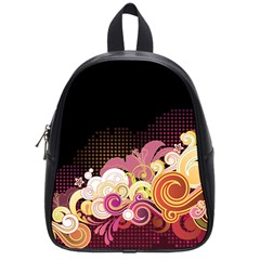 Flower Back Leaf Polka Dots Black Pink School Bag (small) by Mariart
