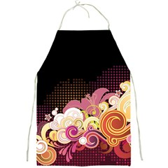 Flower Back Leaf Polka Dots Black Pink Full Print Aprons