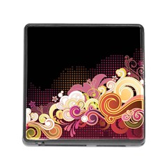 Flower Back Leaf Polka Dots Black Pink Memory Card Reader (square) by Mariart