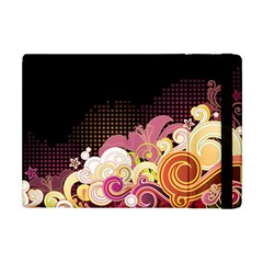 Flower Back Leaf Polka Dots Black Pink Apple Ipad Mini Flip Case by Mariart