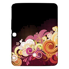 Flower Back Leaf Polka Dots Black Pink Samsung Galaxy Tab 3 (10 1 ) P5200 Hardshell Case  by Mariart