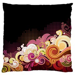 Flower Back Leaf Polka Dots Black Pink Large Flano Cushion Case (two Sides) by Mariart