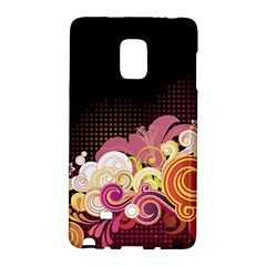 Flower Back Leaf Polka Dots Black Pink Galaxy Note Edge by Mariart
