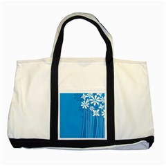 Flower Blue Two Tone Tote Bag by Mariart
