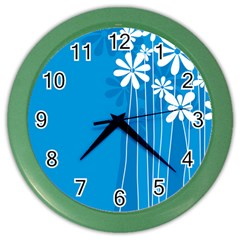 Flower Blue Color Wall Clocks by Mariart