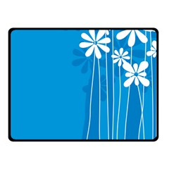 Flower Blue Fleece Blanket (small) by Mariart