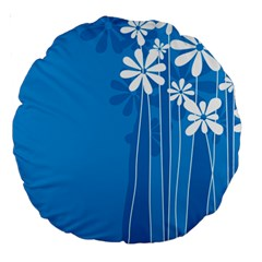 Flower Blue Large 18  Premium Round Cushions by Mariart