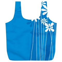 Flower Blue Full Print Recycle Bags (l)  by Mariart