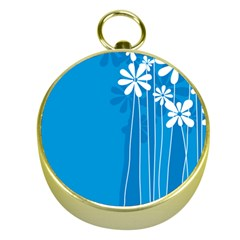 Flower Blue Gold Compasses by Mariart