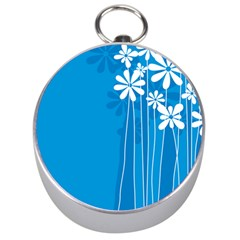 Flower Blue Silver Compasses by Mariart
