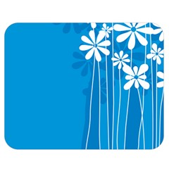 Flower Blue Double Sided Flano Blanket (medium)  by Mariart