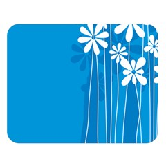 Flower Blue Double Sided Flano Blanket (large)  by Mariart