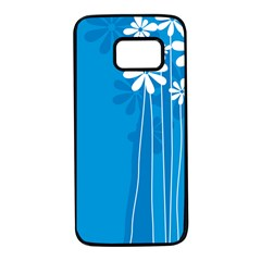Flower Blue Samsung Galaxy S7 Black Seamless Case by Mariart