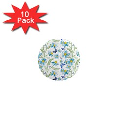 Flower Blue Butterfly Leaf Green 1  Mini Magnet (10 Pack)  by Mariart