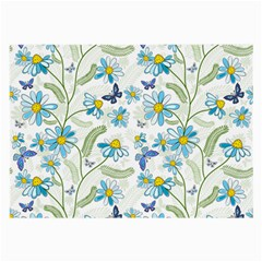 Flower Blue Butterfly Leaf Green Large Glasses Cloth by Mariart