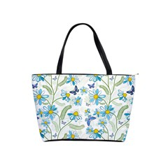 Flower Blue Butterfly Leaf Green Shoulder Handbags by Mariart