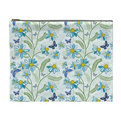 Flower Blue Butterfly Leaf Green Cosmetic Bag (xl) by Mariart