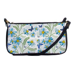 Flower Blue Butterfly Leaf Green Shoulder Clutch Bags by Mariart