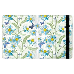 Flower Blue Butterfly Leaf Green Apple Ipad 3/4 Flip Case by Mariart