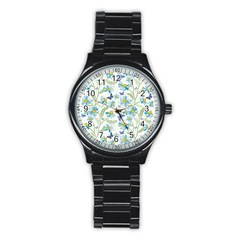 Flower Blue Butterfly Leaf Green Stainless Steel Round Watch by Mariart