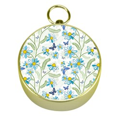 Flower Blue Butterfly Leaf Green Gold Compasses by Mariart
