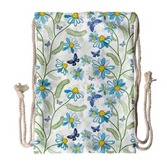 Flower Blue Butterfly Leaf Green Drawstring Bag (large) by Mariart
