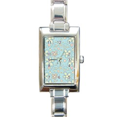 Flower Blue Butterfly Bird Yellow Floral Sexy Rectangle Italian Charm Watch by Mariart