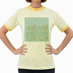 Flower Blue Butterfly Bird Yellow Floral Sexy Women s Fitted Ringer T Shirts