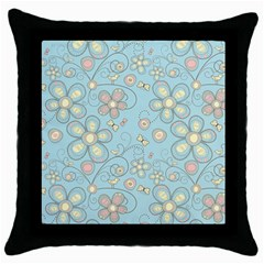 Flower Blue Butterfly Bird Yellow Floral Sexy Throw Pillow Case (black) by Mariart