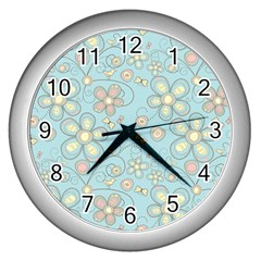 Flower Blue Butterfly Bird Yellow Floral Sexy Wall Clocks (silver)  by Mariart