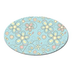 Flower Blue Butterfly Bird Yellow Floral Sexy Oval Magnet by Mariart