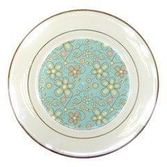 Flower Blue Butterfly Bird Yellow Floral Sexy Porcelain Plates by Mariart