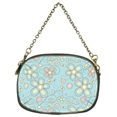 Flower Blue Butterfly Bird Yellow Floral Sexy Chain Purses (two Sides)