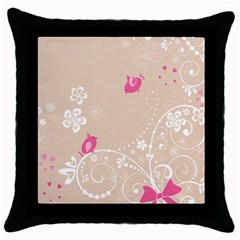 Flower Bird Love Pink Heart Valentine Animals Star Throw Pillow Case (black) by Mariart