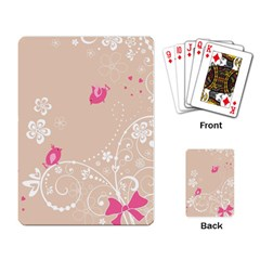 Flower Bird Love Pink Heart Valentine Animals Star Playing Card by Mariart