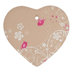 Flower Bird Love Pink Heart Valentine Animals Star Heart Ornament (two Sides)