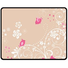 Flower Bird Love Pink Heart Valentine Animals Star Fleece Blanket (medium)  by Mariart