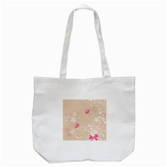 Flower Bird Love Pink Heart Valentine Animals Star Tote Bag (white) by Mariart