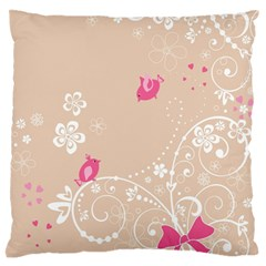 Flower Bird Love Pink Heart Valentine Animals Star Large Flano Cushion Case (two Sides) by Mariart